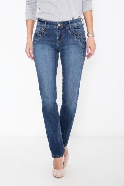 ATT JEANS Slim Fit Jeans mit floraler Applikation Stella