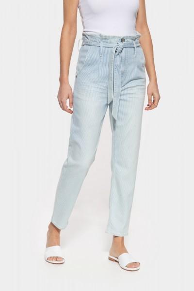 Jeans im Paperbag-Design mit Streifenmuster »Moon«