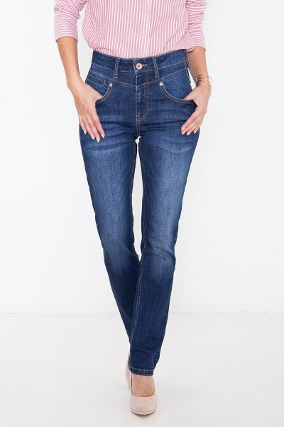 ATT JEANS Basic High Waist Jeans mit Passennaht und Paspeltasche, Straight Fit Lea