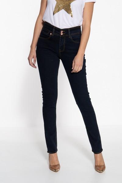 ATT JEANS Damen Slim Fit Jeans mit kontrastierdenden Absteppungen Chloe
