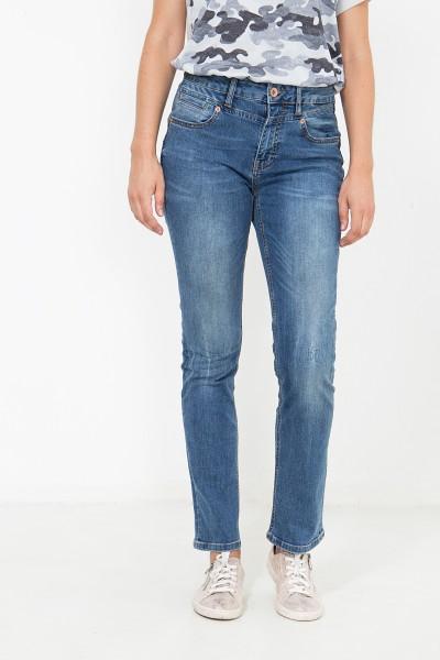 ATT JEANS  High Waist Jeans mit Paspeltasche, Straight Fit Lea